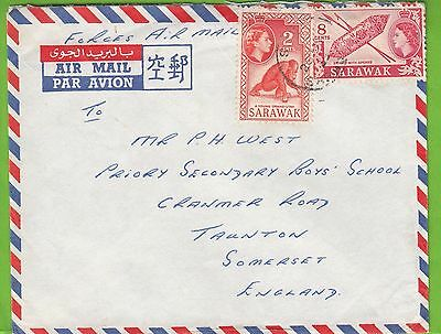 G 1490 Sarawak Sibu 1959? British Forces Airmail cover UK; 10c rate, 2 stamps