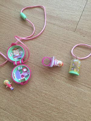 3 x Polly Pocket. Mini Kette 1990 Kettchen + Polly, Brautring 1990, 1 x Mini