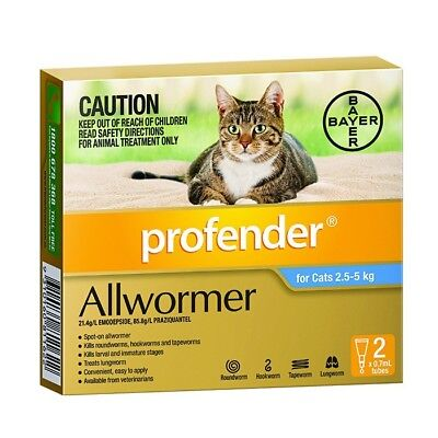 Profender Spot On All Wormer For Cats. Two Sizes Available