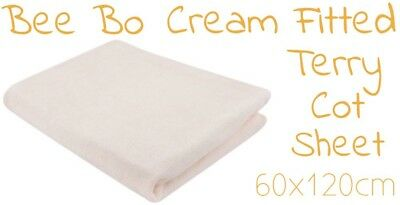 Baby Fitted Terry Cot Sheet By Bee Bo Size 60x120cm Cream New Free Delivery