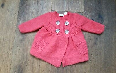 wool red country road baby girl jacket 3-6 months pure wool (size 000)