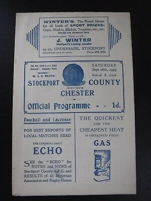 Stockport County v Chester pre War 1933 1934 football programme