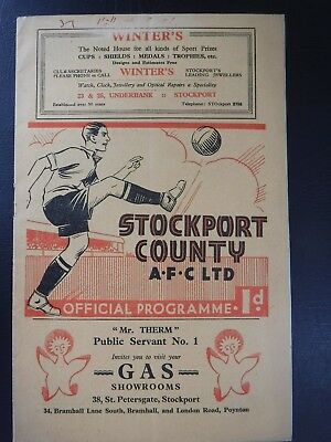 Stockport County v Hull City pre War 26th Mar 1937 1936 - 37 football programme