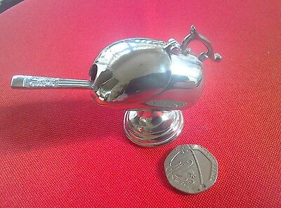 "Beautiful vintage silver plate ""coal scuttle"" mustard/salt pot"