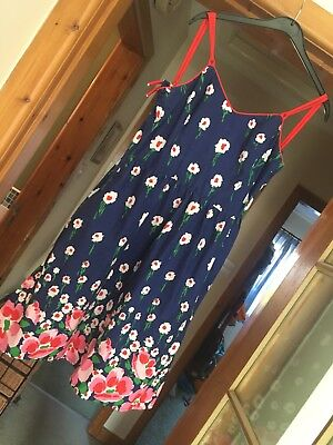 Handmade Vintage Floral Dress Fits Size 6/8 Navy Blue with Red Straps Zip Up