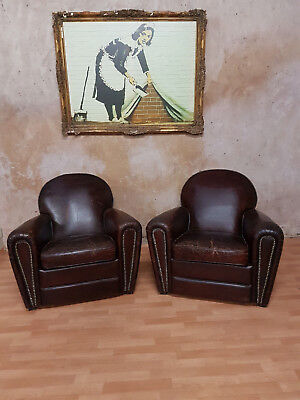 2x Cigar Chair Lounge Brown Art Deco, ENGLAND VINTAGE