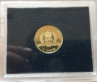 Turks & Caicos Islands 50 Crowns, 1977, Queen's Silver Jubilee. Gold Coin