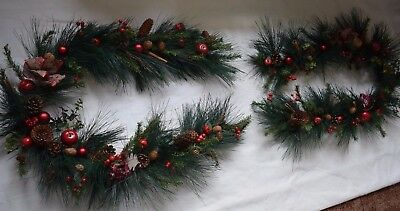 Set of 2  / 5 ft Luxury Traditional Christmas Garland Pine Cones Red Berries App
