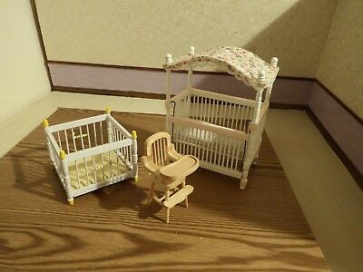 doll house furniture nursery canopy cot/ highchair/playpen  1.12th