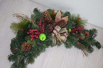 Set of 2  50 cm Arch Garland Swag Christmas Decoration Green Red Pine cones Berr