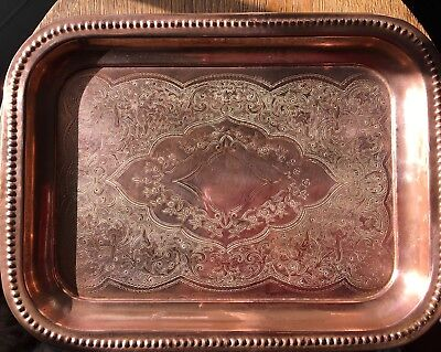 J Sankey & Son 1900-1920 Copper hammer'd & engraved tray/Rectangle/Vint/Cocktail