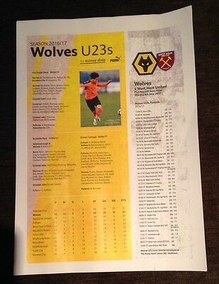 PL2 Play-off Semi-Final Wolves West Ham United Under 23s A4 Team sheet programme