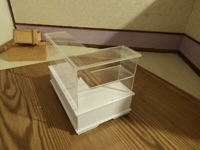 doll house furniture white shop corner glass  display counter 1.12th