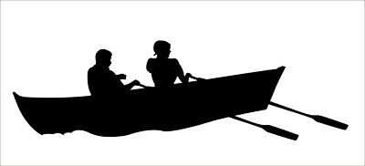 PAIR of COUPLES ROWNG BOAT car boat vinyl stickers CHOOSE YOUR COLOUR