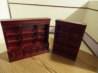 2x doll house furniture mahogany shop  display shelves unit/bookcase  1.12th