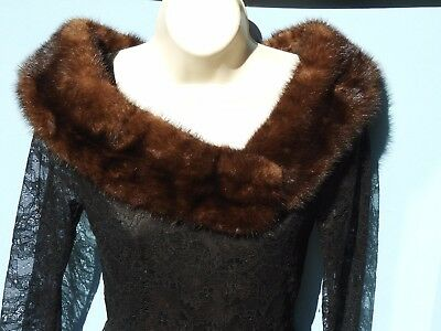 Vintage Real Fur Collar Lining MINK ? For Repair or Salvage