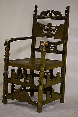 Chokwe Ceremonial Throne - Chair with Figurative Scenes - Congo DRC