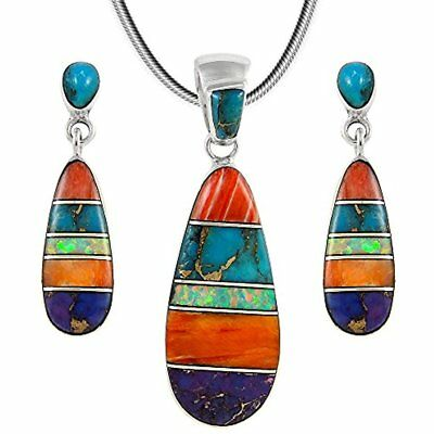 """Matching Set Turquoise & Gemstone 925 Sterling Silver (Pendant, Earrings, 20"""")"""