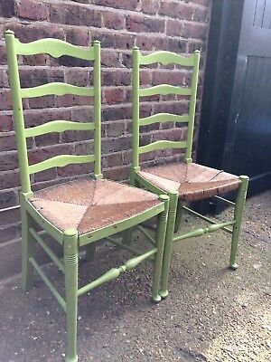 Pair Antique Rush Seat Chairs