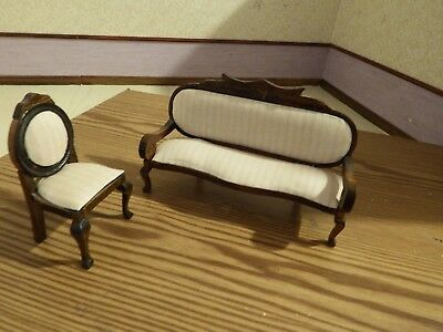 doll house furniture vintage mahogany sofa and armchair 1.12th