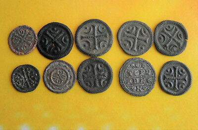 Lot Of 10 Pcs Hungarian Copper Coin From Arpad Dyn. #q20