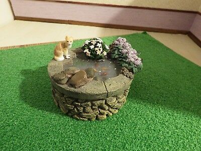 doll house garden furniture resin raised fish pond with cat   1.12th