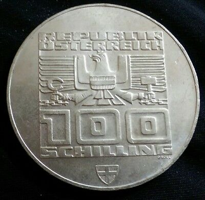 Austria Winter Olympic Games 1976 Coin (100) Shillings Silver 23.90G Innsbruck