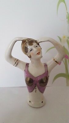 "Lovely 1920's Art Deco Style Porcelain Exotic ""Mata Hari""~ Half Pin Cushion Doll"