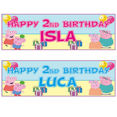 2 PERSONALISED 3ft x 1ft PEPPA PIG BIRTHDAY BANNERS - ANY NAME - ANY AGE