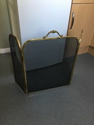 Open Fire Guard/screen. Brass Handle And Black Colour
