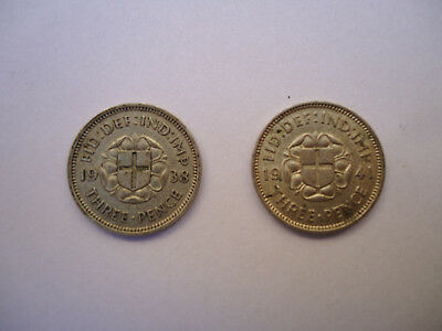 1938+1941 Great Britain Uk 3 Pence <2 Silver Coins>