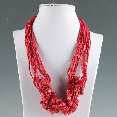 Collectibles Decorated Handwork Tibet Red Coral Necklaces LXL069