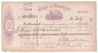 1879-07-30, Advertising 2 Indians / Bank Of Montreal Check #70872, Montreal