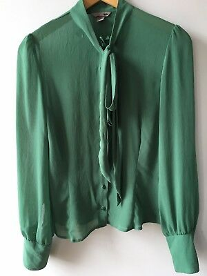 Vintage H&M Blouse Chiffon Green With Pussy Cat Bow Size 12 UK Euro 38 Used VGC