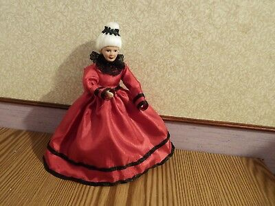 Dolls House victorian grandmother in red 1.12