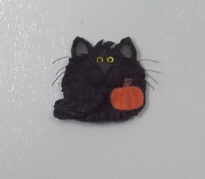 CAT-Halloween black cat with small pumpkin magnet-CPH art