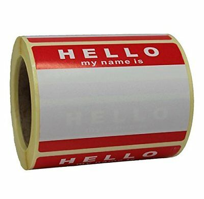 Roll of 250 Hello My Name Is Stickers  Name Tags - Red  White - 8cm x 6cm -