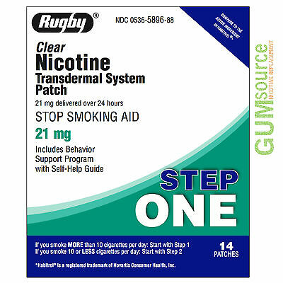 Rugby Nicotine Patch Step 1 (21mg) Clear  1 box 14 patches