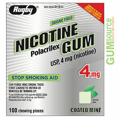 Rugby Nicotine Gum 4mg Coated Mint  1 box 100 pieces