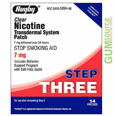 Rugby Nicotine Patch Step 3 (7mg) Clear  1 box 14 patches