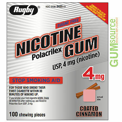 Rugby Nicotine Gum 4mg Coated Cinnamon  1 box 100 pieces