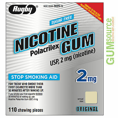 Rugby Nicotine Gum 2mg Uncoated Original  1 box 110 pieces