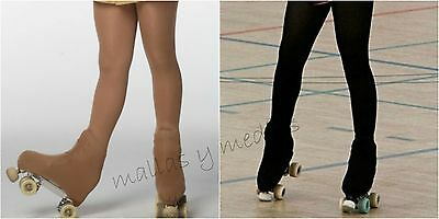 OVER THE BOOT ICE SKATE ROLLER SKATING TIGHTS 70 DENIER TAN or BLACK ALL SIZES