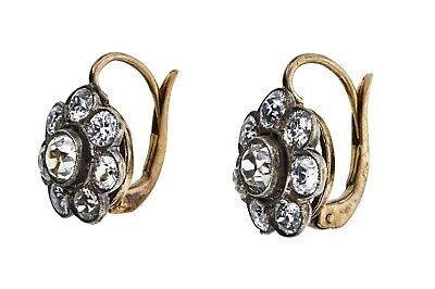 Antique Old European Brilliant 3.47 cts Diamond Cluster 14k Gold Earrings