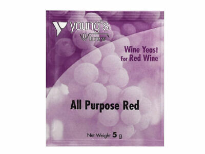 Youngs Wine Yeast Sachet 5g - All Purpose Red - Treats 23 Litres 5 Gallons New