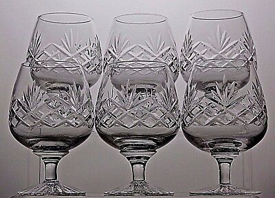 "Stuart Crystal ""ludlow"" Pattern Cut Glass Brandy Glasses Set Of 6"