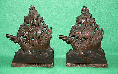 """*Vintage Heavy Cast Iron 16th Century Galleon Ship Bookends 4""""W 5 1/2""""T"""