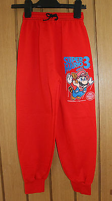 "Vintage 90's Kids Super Mario 3 Red Joggers Size Waist 16-18""  Leg 21 Inches New"