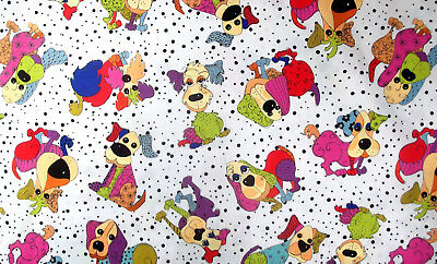 """wide FQ 1//2m or 1m lengths Black Fabric Happy Campers by Nutex 112cm 44/"""""""