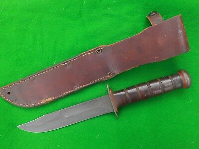 Genuine Ww2 Era Us Mk2 Red Spacer Rh37 Pal  Navy And Leather Sheath